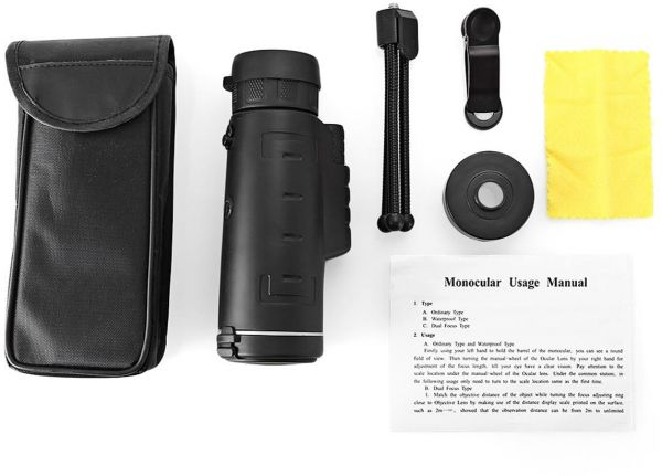Monocular telescope hd night vision prism scope with phone