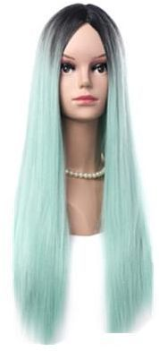 Cosplay Wigs Gradient Light Green Heat Resistant Women Hair Straight ... dce84c310a