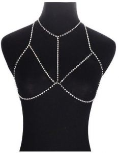 Crystal Body Chains Rhinestone Bra Slave Necklace Bikini Body