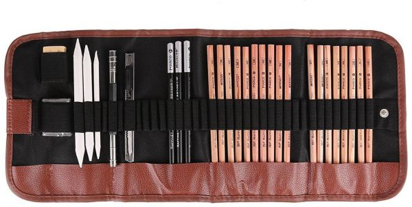 Sketching Pencil Set 18Pcs Pen Charcoal Sketch Set Roll Up Canvas Carry Pencil Extender for Beginners