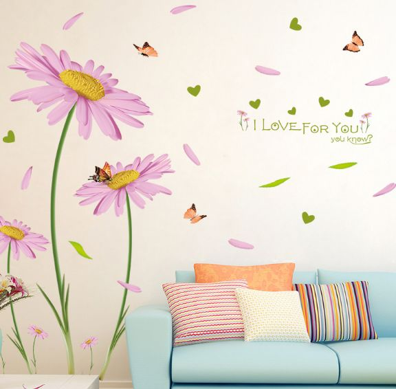 Pink Flowers Wall Stickers Pvc Material Diy Aster Wall Decals For