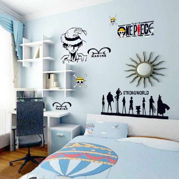 anime manga one piece kids cartoon wall stickers home decor living