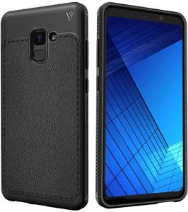 Samsung Galaxy A8 Plus 2018 Lenuo Litchi Texture Drop Proof Full Coverage PU Leather and TPU Back Protective Case - Black