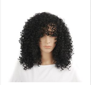 42CM Curly Wigs new style fashion Synthetic Hair Black Short wig for Women 1fe48a504