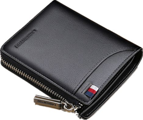 LAORENTOU Black Leather For Men - Zip Around Wallets