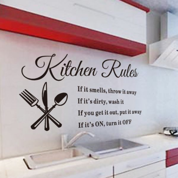 water proof wall sticker kitchen rules restaurant wall sticker decal
