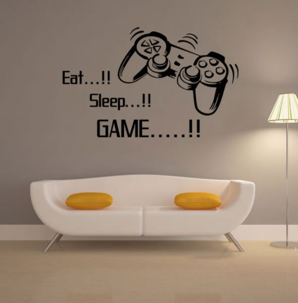 Gaming Vinyl Wall Stickers Art Joystick Video Game Wall Sticker  Self Adhesive Wallpaper Creative Poster For Boys XX