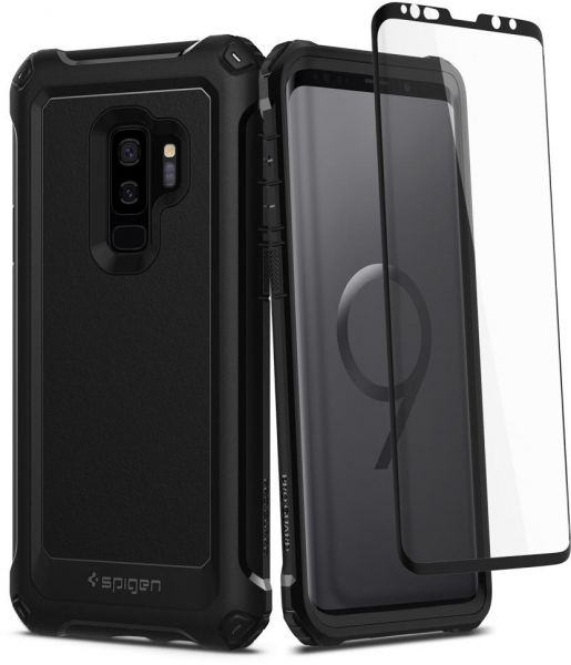 brand new f6ec1 9064e Spigen Samsung Galaxy S9 PLUS Pro Guard case / cover - Black - Full 360  protection with Glas.tR Glass Screen Protector S9+
