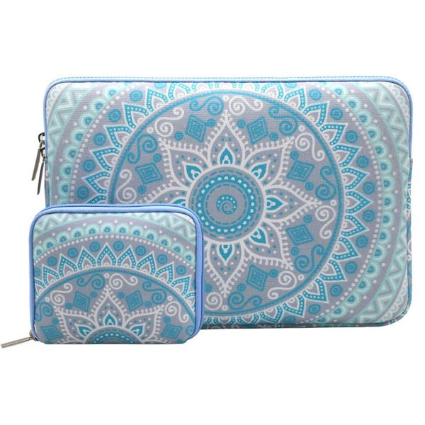 Mosiso Laptop Sleeve Only Compatible MacBook 12-Inch with Retina Display 2017/2016/2015 Release with Small Case, Canvas Fabric Mandala Pattern Protective Carrying Bag Cover, Mint Green and Blue