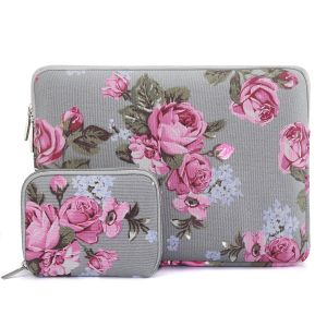 d7ba0988d MOSISO Laptop Sleeve Bag for 13-13.3 Inch MacBook Pro, MacBook Air,  Notebook Computer with Small Case, Peony Pattern Canvas Protective Carrying  Cover, Gray