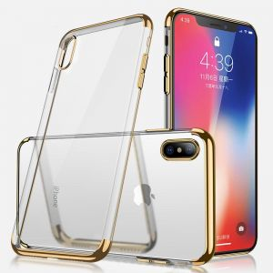 PIONEER iPhone X Clear Case, Ultra-thin Crystal Clear Shock Absorption Electroplating Frames Transparent Bumper Silicone Gel Rubber Soft TPU Cover Case for ...