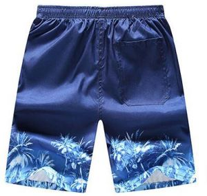 69f1161291c39 Coconut Tree Print Men's Summer Beach Pants Quick Dry Swim Trunks Dark Blue  XL