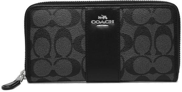7288e3ce8ddb Coach Accordion Zip Wallet In Signature Coated Canvas With Leather Stripe  F54630 Svdk6