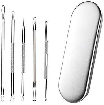 5pcs Stainless Steel Remover Blackhead Comedone Acne Pimple Belmish Extractor,Vacuum Blackhead Remover,Acne/blackhead Extractor Tool,Spoon for Face Blemish Acne Pimple Extractor