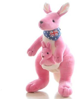 32cm Mom And Baby Kangaroo Plush Pink Doll Cute Toys For Children
