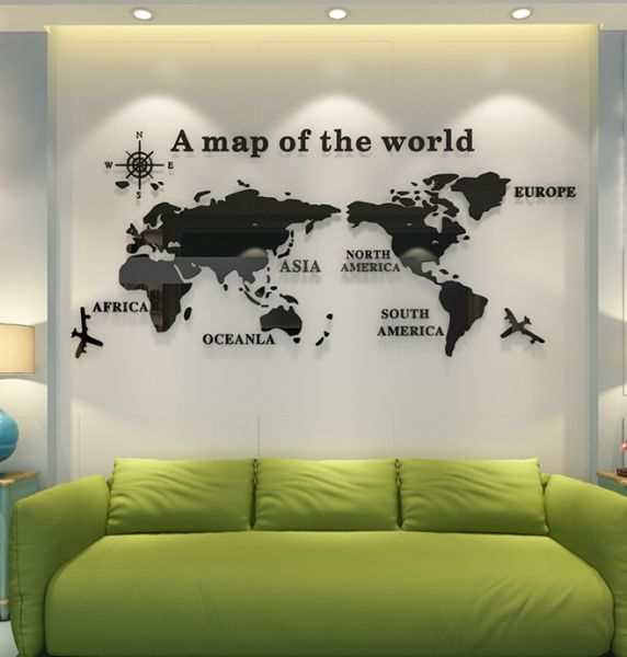 acrylic 3d a map of the world wall stickers living room bedroom tv