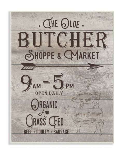 Souq | Stupell Home Décor The Old Butcher Shop Vintage Sign Wall ...
