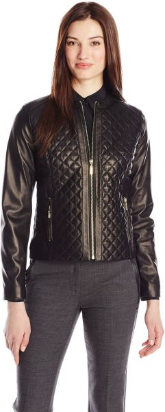 Buy Cole Haan Womens Quilted Leather Jacket Black X Small