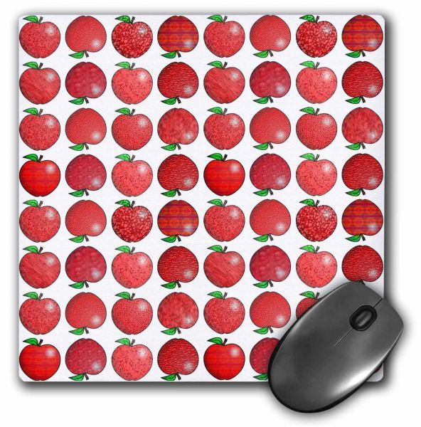 3dRose LLC 8 x 8 x 0.25 Inches Textured Apple Print Small Mouse Pad (mp_12133_1)