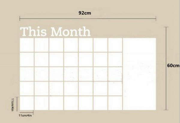 Month Whiteboard Calendar Sticker Blackboard White Carved Wall