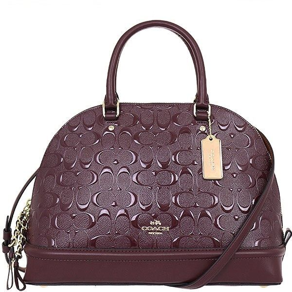 c9a1d5dcbc47 COACH SIERRA SATCHEL IN SIGNATURE DEBOSSED PATENT LEATHER - GOLD OXBLOOD