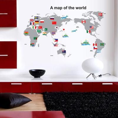 World Map Removable Wall Sticker.World Map Removable Wall Stickers Pvc Transparent Film Wall Stickers
