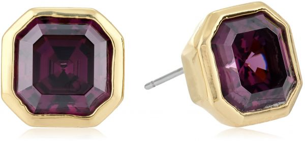 Nicole Miller 10 Mm Signature Cher Bezel Stud Earrings