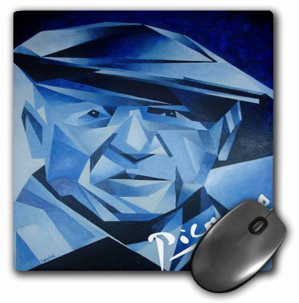3dRose LLC 8 x 8 x 0.25 Inches Mouse Pad, Blue Picasso Artist, Blue, Cubism, Man, Pablo Picasso, Picasso, Signature ‫(mp_46744_1)