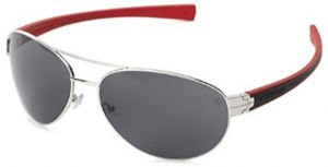 2835485a9ca Tag Heuer Outdoor Silver Metal Front Aviator Shape And Black   Red Rubber  Temple With Grey Lenses Sunglasses