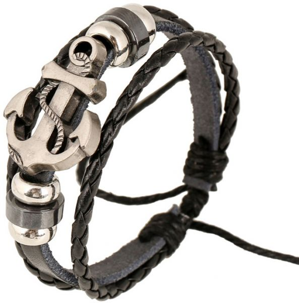 A Vintage Leather Bracelet Decorated With Beads And An Anchor Attached To The Wrist For Men Women