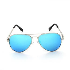96f30ed4dea Fashion Polarized Sunglasses with Metal Mirror UV 400 Lens Protection  Travel Sun Glasses for Children (Silver Frame  Ice Blue Lens)