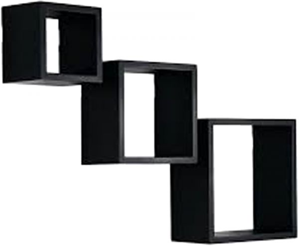 Clic Home Ikea Style Square Wall Shelves Black