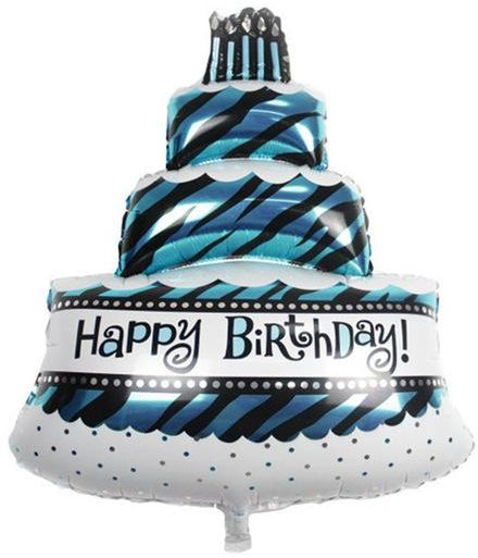 Three Layers BLUE Happy Birthday Cake Foil Balloons Party