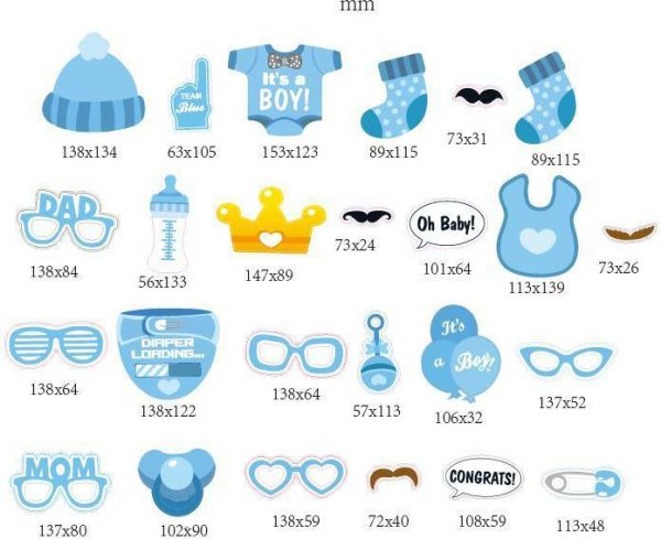 25pcs Baby Shower Photo Props Baby Bottle Masks Photobooth Props