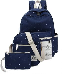 42288201b7 Three-piece bag College style Backpack Fashion lace Canvas Backpack Navy  Bule