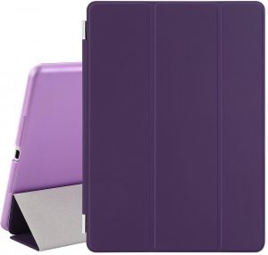 Magnetic Smart Cover Stand + Hard Back Case For Apple iPad Air 2 (2014 Version) + Stylus - Protects the Device - Purple
