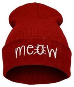 Red meow cat unisex beanie winter hat for adults and kids 3ce881b0cd9