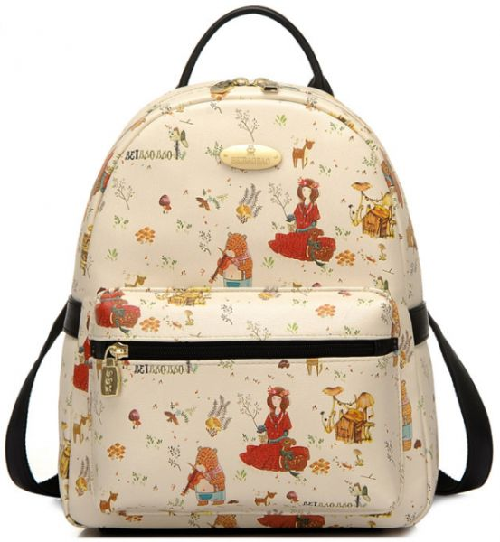 Chic Style Girl College Bag Double Shoulder Bag Backpack Leisure