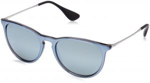 9cd36e7202 Ray-Ban Erika Non-Polarized Iridium Aviator Sunglasses, Grey Mirror Flash  Grey, 54 mm