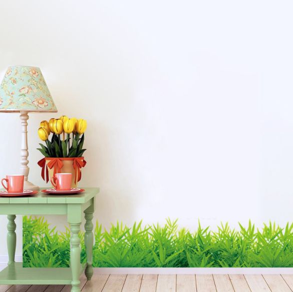 diy green grass wall sticker home decal wall stickers creative