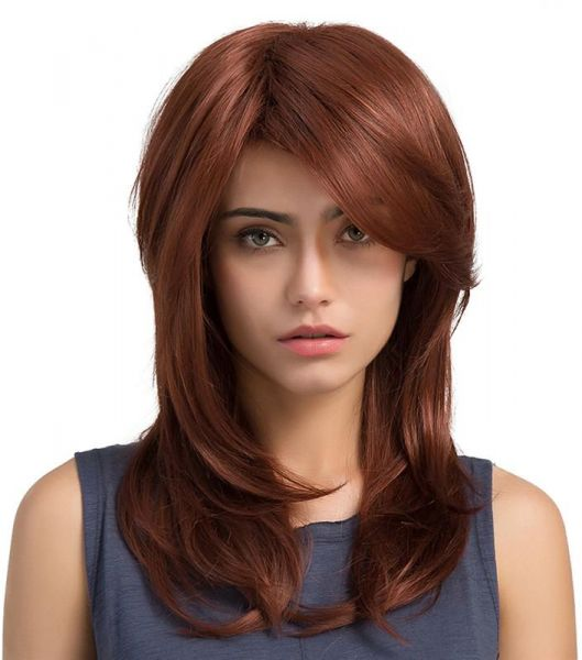 Souq Attractive Gradient Color Wine Red Hair Synthetic Wig Woman