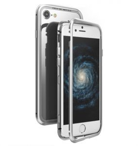 info for 8c103 de3c7 Sliver Magnetic Adsorption Case for IPhone 6 Clear Tempered Glass +  Built-in Magnet Case Metal Cover
