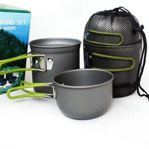 Outdoor Portable Camping Multi-layer Pot Set Of 4 Pieces Combination Oxidation Pot Picnic Cooker Cookware Outdoor Stove Multi-layers Pan Camping Hiking ...