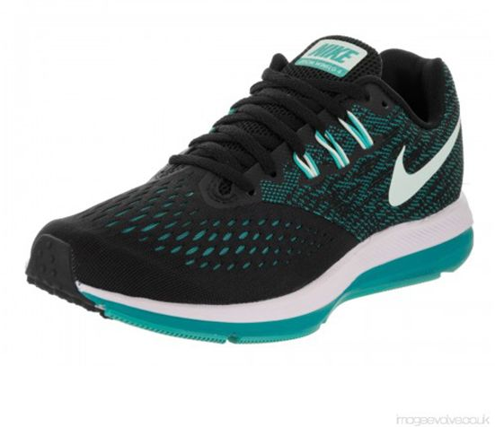 brand new d2f72 738c5 Nike Zoom Winflo 4 Running Shoes For Women - Black Blue