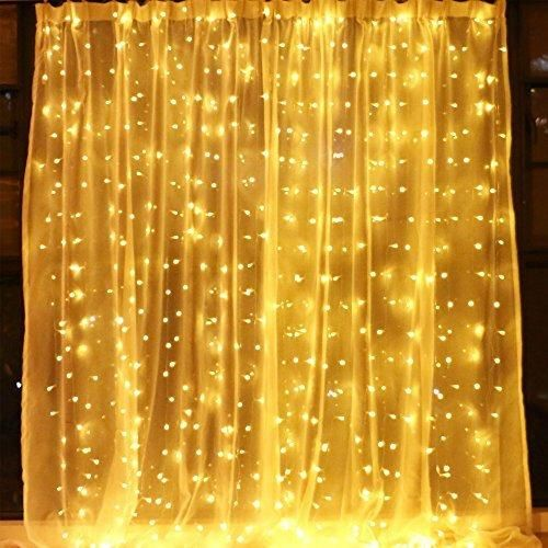 String Lights On Wall: Window Curtain String Lights For Indoor Outdoor Wedding