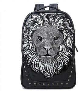 Personalized 3D Lion Studded PU Leather Casual Laptop Backpack School Bag  Silver ad0d1a3abfbce