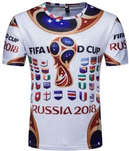 dd5a619c452b03 Russia World Cup Top 32 Team National flag printed Personality Short Sleeve  Souvenir T-shirts-XL