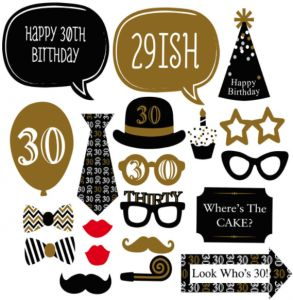 20pcs Glittering Powder 30th Birthday Celebration DIY Kit Party Photo Booth Men S Paper Beard Mask Funny Glasses Shooting Props Selfie Accessories