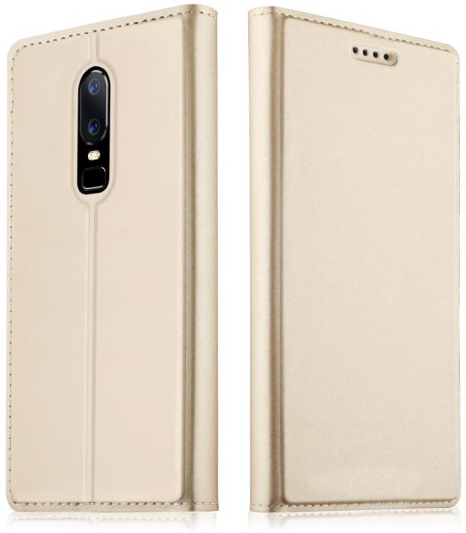new arrival f0de1 b960b One Plus 6 Oneplus 6 A6000 1+6 Case Leather Flip Case for One Plus 6  Oneplus6 Wallet Phone Funda Lenuo Original OnePlus 6 Cover Gold