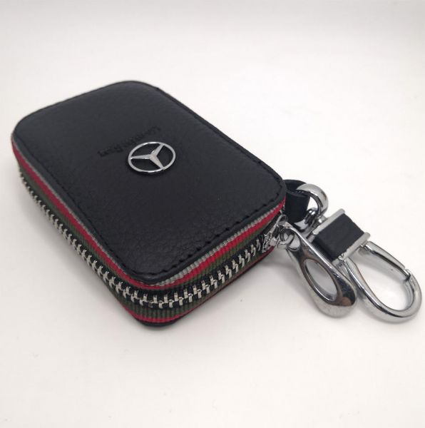 Car Key Bag Real Leather For Mercedes Benz Key Case Ring Chain